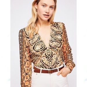 Free People Wild and Free Crop Paisley Blouse